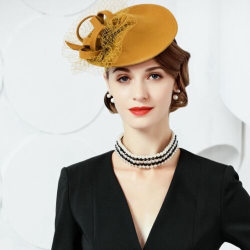 Ladies Felt Wool Fascinator Cocktail Formal Wedding Bridal Hat Headpiece  A571