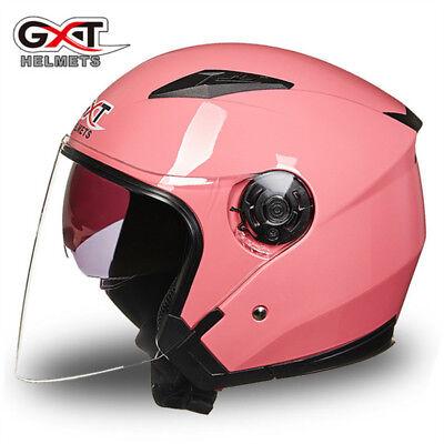 GXT Motorcycle Moto Biker 3/4 Open Face Half Helmet Double Shield Visor Helmets