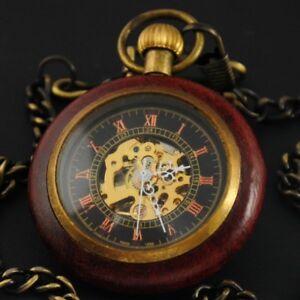 Antique Mechanical Wind up Skeleton Steampunk Mens Pocket Watch FOB Vintage Gift