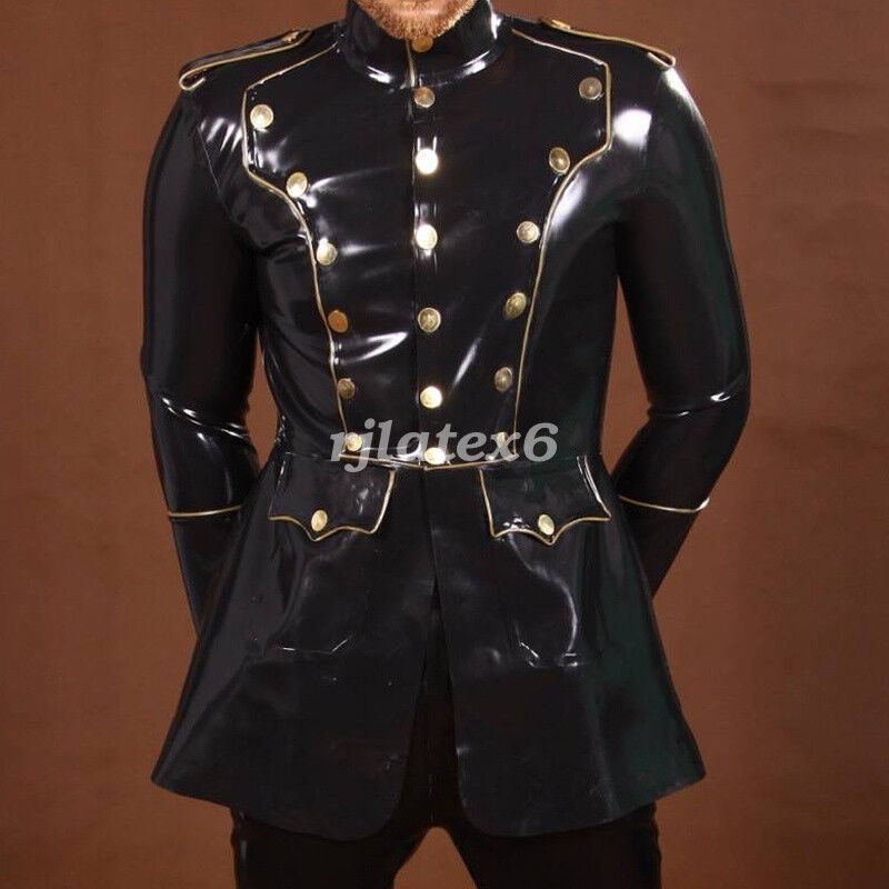 Cool Latex Rubber Men Fashion Handsome English Wind Jacket Dresses Size S-XXL