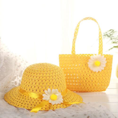 Travel Sun Hat Girls Kids Straw Cap Lovely Beach Hats Bag Flower Handbag Suit
