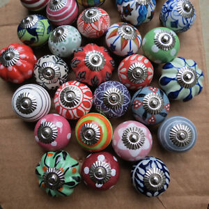 Hand painted Ceramic Knobs from India
