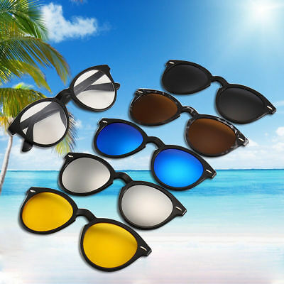 5 in 1 Magnetic Lens Swappable Spectacle Frame 5 Clip Retro Polarized (Magnetic Sunglasses)