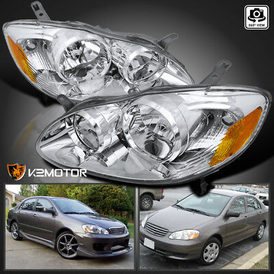 For 2003-2008 Toyota Corolla Clear Replacement Head Lamps Headlights Left+Right