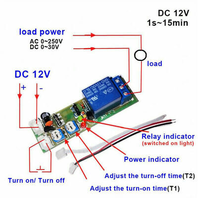 Dc12v Adjustable Infinite Cycle Loop Delay Timer Time Relay Switch On Off Module