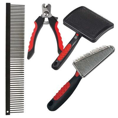 Basic Tool Kit Professional Dog Groomers 4 Piece Set Brush Comb & Nail Clippers