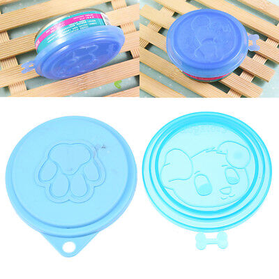 2PCS Reusable Pet Food Can Cover Silicone Dogs Cats Storage Tin Cap Lid Random
