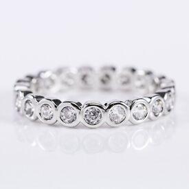 Vintage Women 925 Silver Jewelry Round Cut White Sapphire Wedding Ring Size 6-10