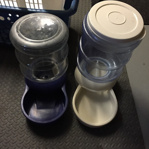 Large dog waterer and /gravity feeder   set of 2