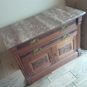 Antique Wood Dresser with Marble Top