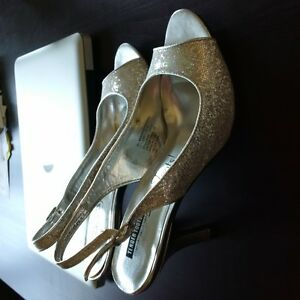 Silver Sparkly High Heels - Size 8