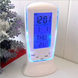 US New Square Digital LED LCD Table Desk Travel Alarm Clock Calendar Thermometer