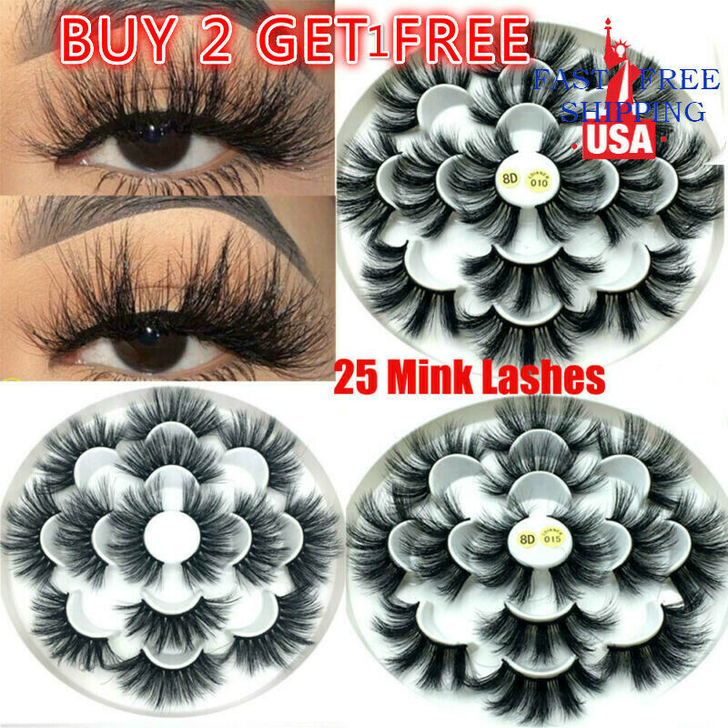 SKONHED 7 Pairs 25mm Lashes 8D Mink Hair False Eyelashes Flu