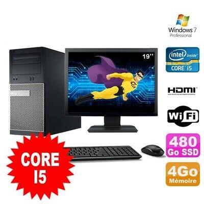 Lot PC Tour DELL 3010 MT I5-2400 Graveur 4Go 480Go SSD HDMI Wifi W7 + Ecran 19