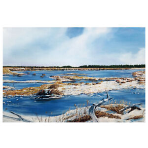 """Frozen Rivers"" - ORIGINAL Oil Paint Landscape- 24""x36"" - Local"