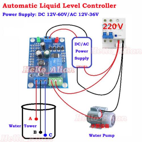 AC/DC 12V 10A Liquid Level Controller Module Water Level Detection Sensor Switch
