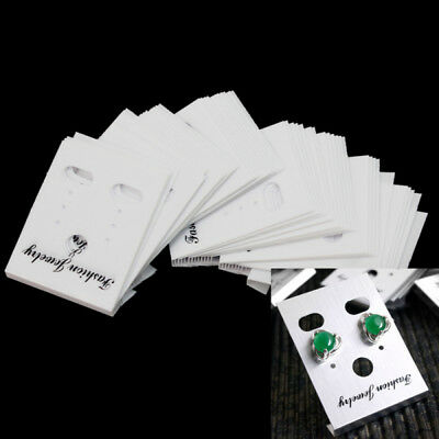 100pcs Plastic Earrings Display Hanging Cards White 40x30mm For Home Shop New