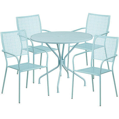 35.25 Round Sky Blue Indoor-outdoor Patio Restaurant Table Set W4 Chairs