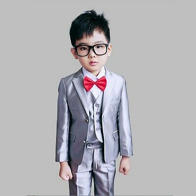 Gray Suits For Boys (Boys Wedding suits for Kids Clothes Children Grey Formal suit Page boy)