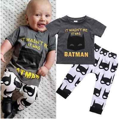 Newborn Kids Baby Boys Clothes Batman T-shirt Tops Pants Outfits Set 0-24 Months - Batman Outfit Kids