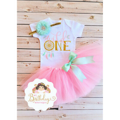 Wild One Dreamcatcher Theme Baby Girl Birthday Outfit, Handmade,Pink and gold](Golden Birthday Themes)