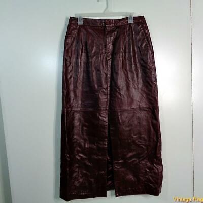 MARGARET GODFREY Sexy Soft Lambskin Leather Skirt Size 10 Wine Burgundy