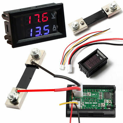 Led Blue Red Dual Digital Voltage Amp Meter Dc 100v 10a 50a Voltmeter Ammeter
