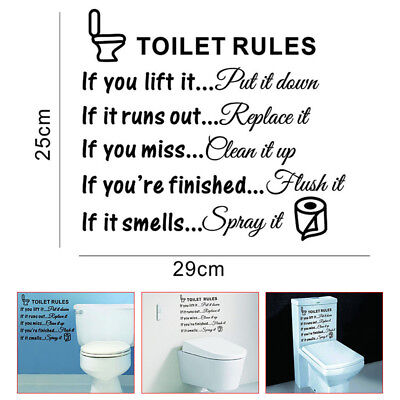 Home Decoration - Toilet Rules Bathroom Removable Wall Sticker Vinyl Art Decals DIY Home Decor