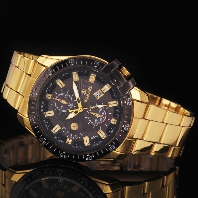 Mens Luxury Gold Stainless Steel Black Dial Date Quartz Analog Wrist Watch New
