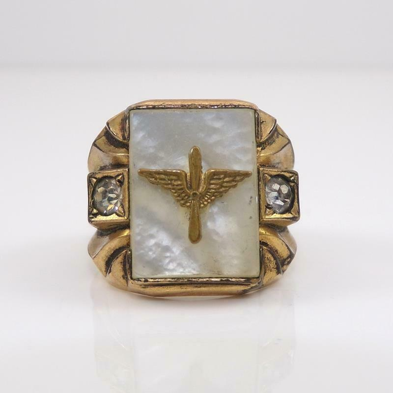 Vtg WWII Army Air Corps Wing 14K Yellow Gold Filled Gold Ring Size 8 QZD5