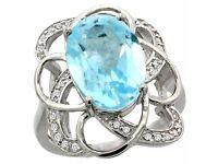 Natural 6.29ctw blue-topaz & Diamond Ring 14K White Gold (Engagement)