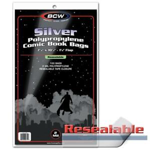 100 BCW RESEALABLE Silver Comic Book Acid Free Poly Bags archival sleeves