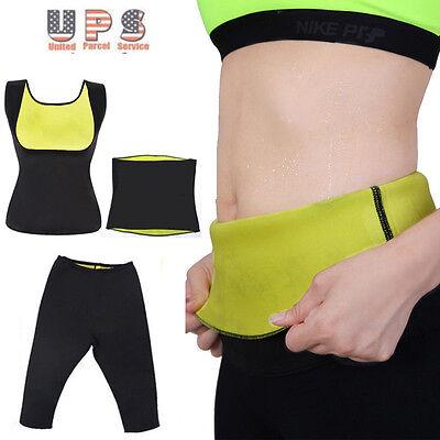 New Women Neoprene Body Shaper Set Slim Waist Pants Belt Yoga Sweat Shapers Hot