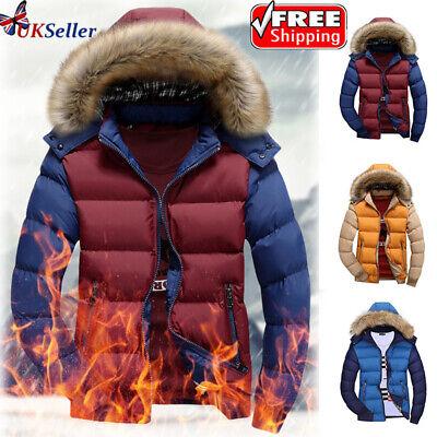 Mens Winter Jacket Hooded Thick Coats Ski Snow Hiking Warm Outwear L/XL/2XL/3XL