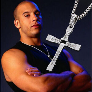 Fast & Furious Dominic Toretto Silver Cross Chain Necklace Gold