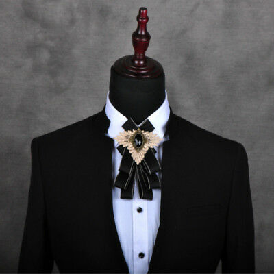 Men Crystal Satin Check Bownot Bow Ties Classic Suit Neck Decor Formal (Satin Mens Bowties)