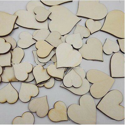100Pcs/Bag Woodworking Small Wooden Love Heart Fashion Cute Decoration