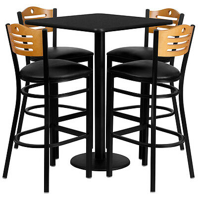 Restaurant Table Chairs 30 Black Laminate With 4 Wood Slat Back Metal Bar Stool