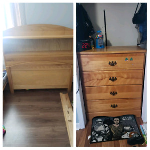 Real Wood Twin Bed & 4 drawer Dresser