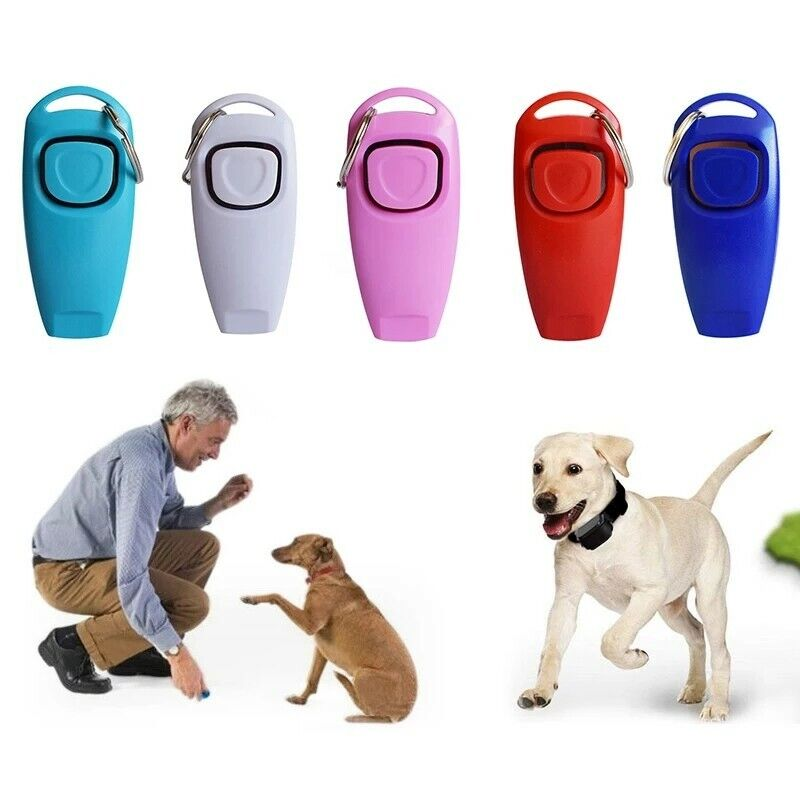 Hot 2 In 1 Cute Shape Dog Whistle Clicker Pet Dog Trainer Aid Guide With Key