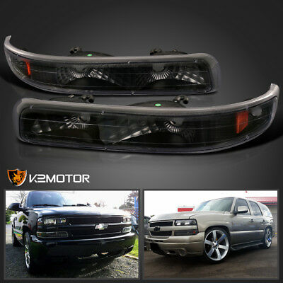 (99-02 Chevy Silverado Tahoe Suburban Signal Bumper Parking Lights Black)