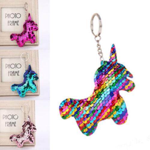 Cute Unicorn Keychain Glitter Pompom Sequins Key Ring for Wo