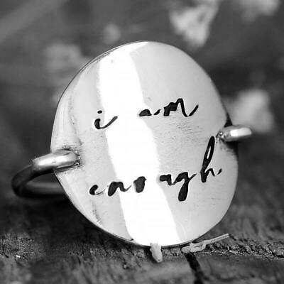 I Am Enough Disc Ring Sterling Silver Women Circle Engraved Inspiration Jewelry