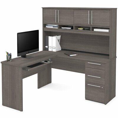 Bestar Innova Plus L Shaped Computer Desk with Hutch in Bark - Bestar Hutch