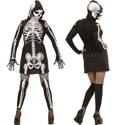 SKELETTA Skelett Lady Damen Kostüm Kleid mit Kapuze Strapsen-Leggings Halloween