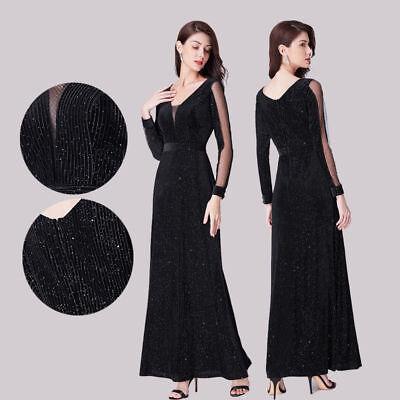 - Ever-Pretty US Long-Sleeve Homecoming Dresses Glitter Formal Evening Black Proms