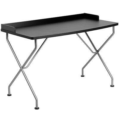 Black Computer Desk With Silver Frame Writing Desk Floor Glides Black Top