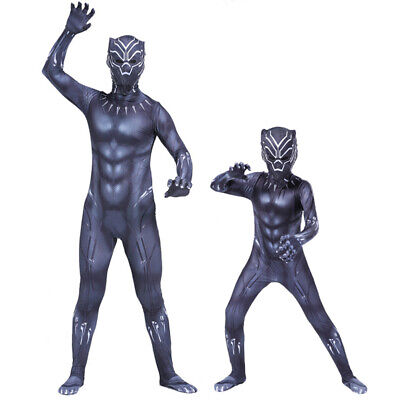 Black Panther Cosplay Costume Kids Adult Halloween Party Zentai Suit with Mask (Black Panther Suit)