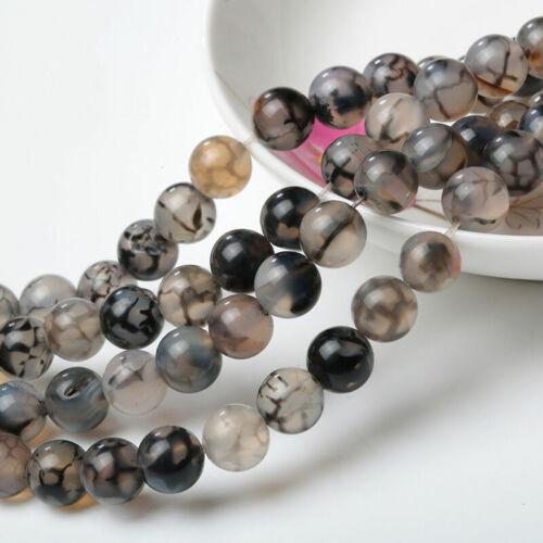 "Beautiful 6mm Black /& White dragon Veins Agate Gemstone Round Loose Beads 15/"""