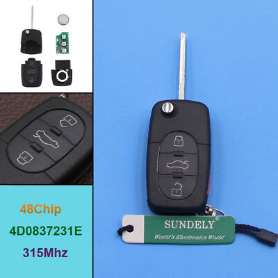 Remote Keyless Key Control Fob 4D0837231E 315mhz Chip For Audi A4 A6 S4 TT A8 S6